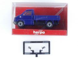 Herpa 041676 VW T4 Pritsche Baufahrzeug Blau Modellauto 1:87 OVP