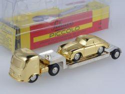 Schuco Piccolo Mercedes Tieflader Porsche 356 gold OVP