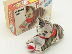 Nomura ST Japan Puzzle Cat Katze Uhrwerk Tin Toy zu Köhler Blech OVP