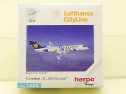 Herpa 511445 Lufthansa Canadair Jet CityLine Little Europe OVP