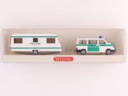 Wiking 1041635 Polizei VW Caravelle Bus T4 mit Wohnwagen NEU OVP