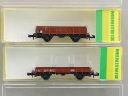 Minitrix Konvolut 2x Güterwagen Nieder Mittelbordwagen SpurN OVP