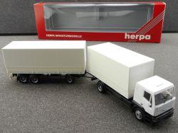 Herpa 143387 Iveco EuroTech Planenhängerzug 2/3 weiß blanko OVP