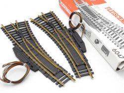 Fleischmann 6047 Elektr. Bogenweiche Paar R/L Modellgleis TOP OVP