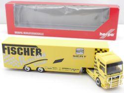Herpa 038102 MAN TGA XXL Renntransporter Fischer Racing Seat OVP