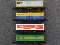 Fleischmann Konvolut 4x Containerwagen 8241 8233 8243 8245