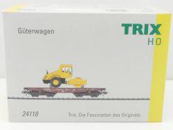 Trix 24118 Schwerlastwagen NZG Bomag BW213 Straßenwalze TOP! OVP