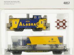 Märklin 485 Güterwagen-Set Alaska USA Caboose Flat Car Truck OVP