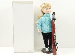 Porzellankopf-Puppe Ski Unfall Blonder Teeny Gipsbein RAR OVP