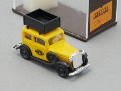 Brekina 1135 Opel P4 Dachgepäckträger gelb Modellauto NEU OVP