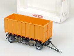 Wiking 6650121 Anhänger Abrollkipper Kipper Orange OVP