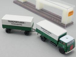 Brekina 7832 MAN 10.212 Transportlader Nürnberg Hängerzug NEU! OVP