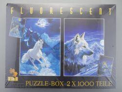 Clementoni Puzzle Fluorescent 2x 1000 Teile Pferd Wolf NEU!  OVP