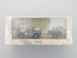 Atlas Jeep Willys MB Militär-Gespann Anhänger grün 1:43 NEU OVP