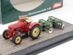 Schuco 02613 Porsche-Diesel Junior Traktor Scheibenegge NEU! OVP