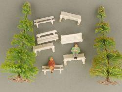 Schnäppchen! Bäume Figuren Bänke für Modellbahn H0 Diorama