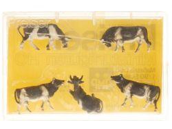 Preiser 4155 Kühe 5tlg schwarz/weiß Figur Modellbahn H0 OVP