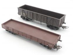 Hornby +VB Konvolut 2x Güterwagen Niederbordwagen Plastik