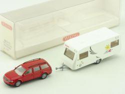 Wiking 0630135 VW Passat Dethleffs Wohnwagen Kids Camp 1:87 OVP