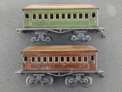 Gebr. Bing 2x Personenwagen 4-achsig original 1920 Spur 0