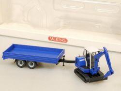 Wiking 6584036 Mini-Bagger Hydraulikhammer Tandemtrailer OVP