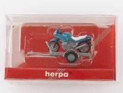 Herpa 050753 Anhänger mit Motorrad BMW für Modellauto NEU OVP