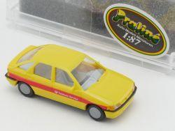 Praliné 5702 Ford Escort gelb Telekom Modellauto 1:87 NEU! OVP