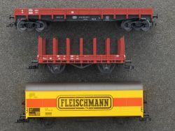 Fleischmann Konvolut Güterwagen mit Rungenwagen etc. TOP!