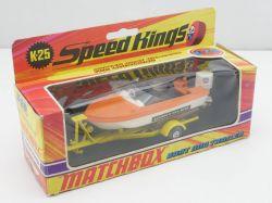 Matchbox K-25  Speed Kings Boat and Trailer nearest mint MIB OVP