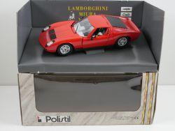 Polistil TG Lamborghini Miura rot Modellauto 1:18 TOP! OVP