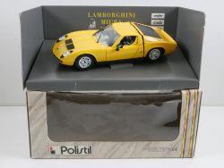 Polistil TG Lamborghini Miura gelb Modellauto 1:18 TOP! OVP