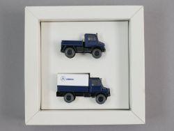 Wiking Mercedes Unimog Werbemodell Set Pritsche blau 1:87  OVP