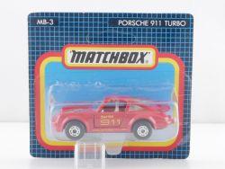 Matchbox MB-3 Porsche911 Turbo Rot Modellauto MOC Blister OVP