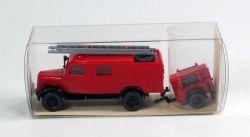 Wiking 863 Feuerwehr Löschfahrzeug mit Anhänger (Opel) OVP ST